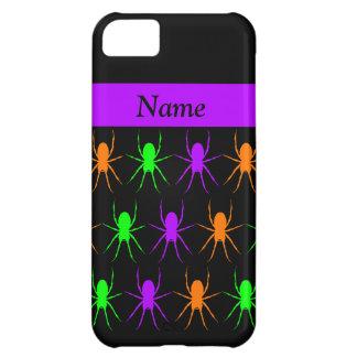 Multi bright spiders on black personalised iPhone 5C case