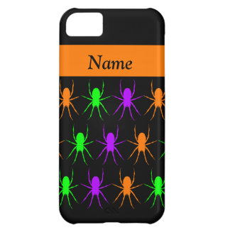 Multi bright spiders on black personalised iPhone 5C case