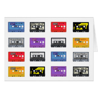 Multi Cassette Tapes Retro Music Pattern Greeting Card