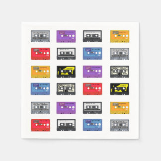 Multi Cassette Tapes Retro Music Pattern Disposable Napkin