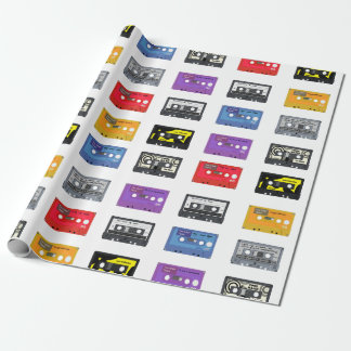 Multi Cassette Tapes Retro Music Pattern Wrapping Paper