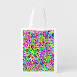 Multi-color 3-d polygon pattern Thunder_Cove Reusable Grocery Bag