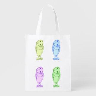 Multi-color Barn Owl Print Reusable Grocery Bag