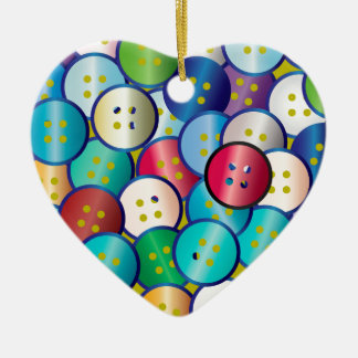 Multi Color Button Background Christmas Ornament