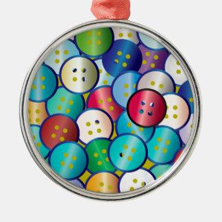 Multi Color Button Background Silver-Colored Round Decoration