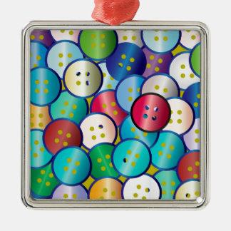 Multi Color Button Background Silver-Colored Square Decoration