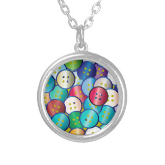 Multi Color Button Background Silver Plated Necklace