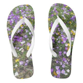 Multi Color Crocus Spring Flowers Adult Flip Flops
