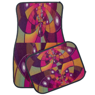Multi-Color Decorative Design Set of 4 Car Mats Car Mat
