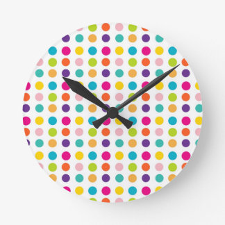 Multi Color Dots Round Clock