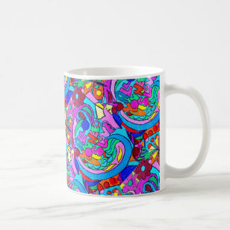 multi-color groovy hippie style love coffee mug