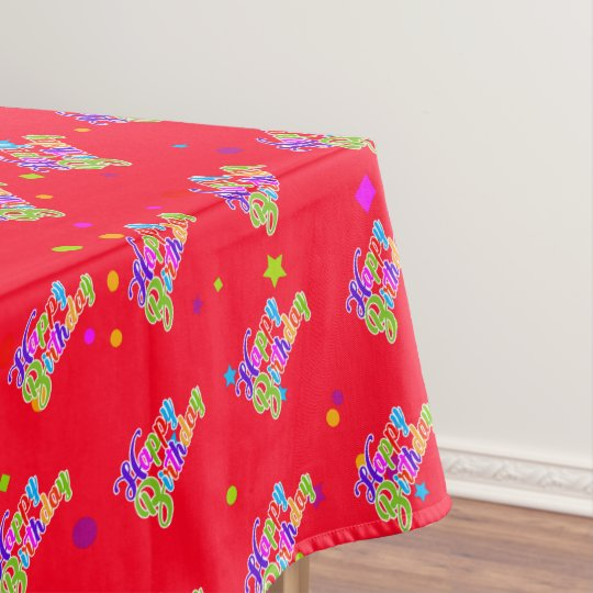 Multi Color Happy Birthday Graphic on Red Tablecloth ...