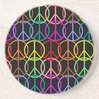 Multi-color interlocked peace symbols coasters
