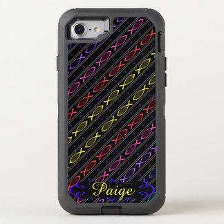 multi-color Jesus fish pattern OtterBox Defender iPhone 8/7 Case