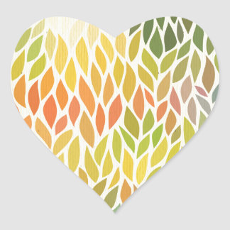 multi color leaf pattern,trendy,abstract art,hip heart sticker