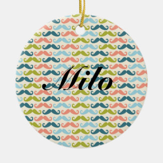 Multi-color Mustache Personalized Ornament