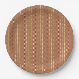 Multi Color Oval Dots in Line - Fall Paper Plate