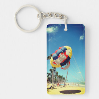 Multi-Color Parasail on Florida Beach Sand Key Ring
