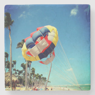 Multi-Color Parasail on Florida Beach Sand Stone Coaster