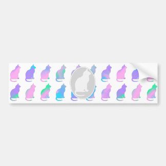 Multi-Color Pastel Abstract Swirls Cats Pattern Bumper Sticker