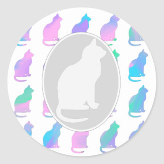 Multi-Color Pastel Abstract Swirls Cats Pattern Round Sticker