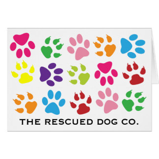 Multi-Color Paw Print Note Cards