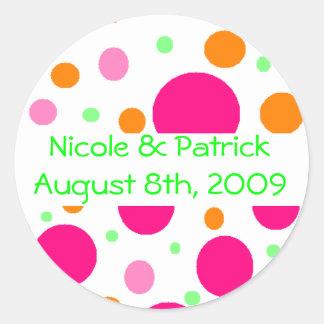 Multi Color Polka Dot Round Sticker