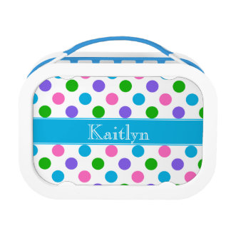 Multi Color Polka Dots | Blue | Personalized Lunch Box