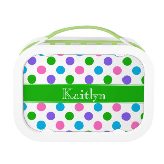 Multi Color Polka Dots | Green | Personalized Lunch Box