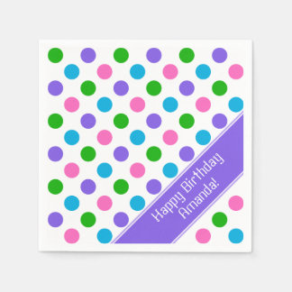 Multi Color Polka Dots | Personalized Disposable Serviette