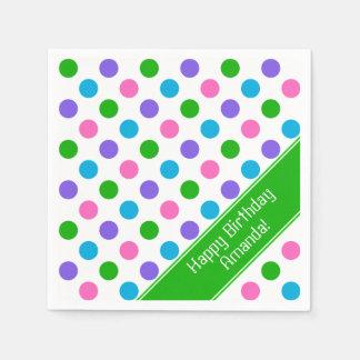 Multi Color Polka Dots | Personalized | Green Disposable Napkin