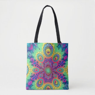 Multi-Color Psychedelic Love is Love Retro Pattern Tote Bag