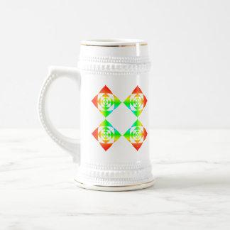 Multi-Color Rainbow Flowers. On White. Beer Stein