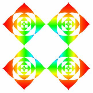 Multi-Color Rainbow Flowers. On White. Photo Sculpture