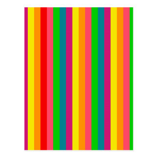 Multi Color Rainbow Vertical Stripes Pattern Postcard