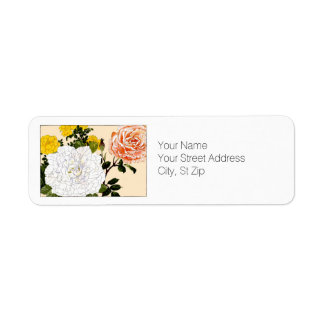 Multi-color Roes, Botanical Art Return Address Label