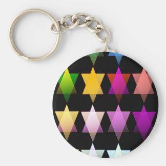 Multi-color Stars of David Basic Round Button Key Ring