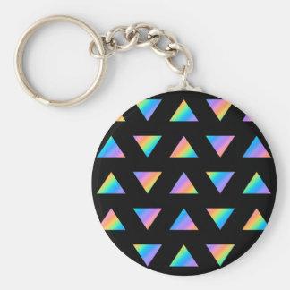 Multi Color Triangle Pattern. Basic Round Button Key Ring