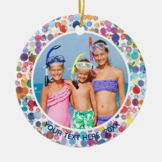 Multi-Color Watercolor Splatter Dots, Two Photo Christmas Ornament