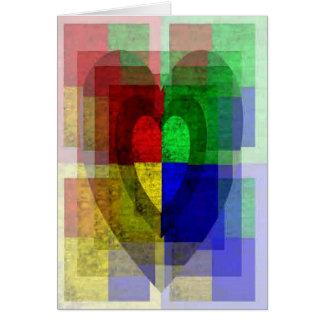 Multi-Color Woodgrain Hearts Greeting Card