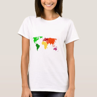 Multi-Color World Map Outline Apparel T-Shirt