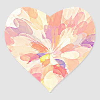 """""""Multi Colored Abstract Flower Design Pattern"""" Heart Sticker"""
