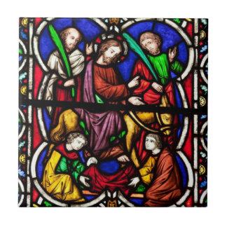 Multi Colored Bible Scene Small Square Tile