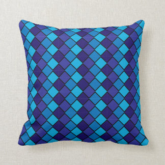 Multi Colored Blue Aqua Pillow with diamond shapes