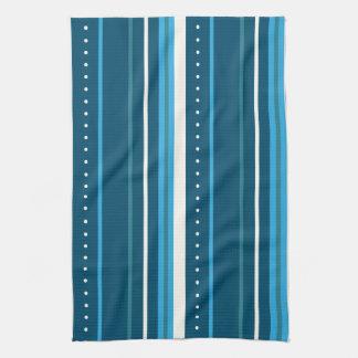 multi-colored blue stripes tea towel
