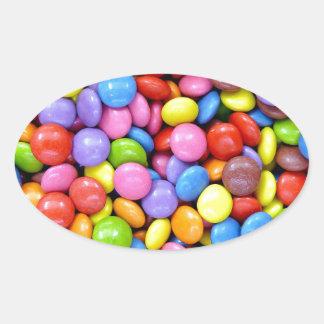 Multi-Colored Candy Oval Sticker