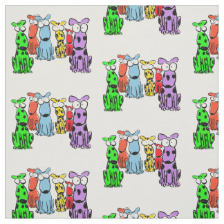 Multi-colored cartoon dogs on white background fabric