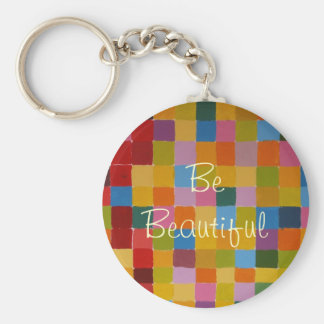 Multi Colored Checkered Pattern Basic Round Button Key Ring