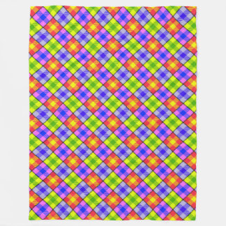 Multi Colored Chequered Pattern Green Yellow Lilac Fleece Blanket