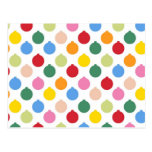 Multi-colored Christmas Ornament pattern Postcards